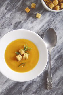 Soup dish of creamed pumpkin soup with croutons and rosemary - RTBF000023
