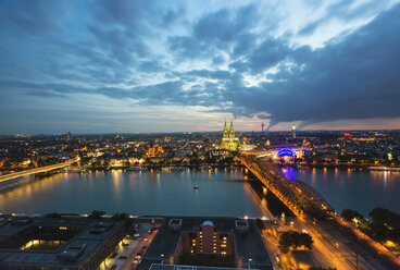 Germany, Cologne, view to lighted cityscape from above - TAMF000422