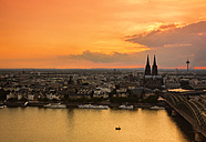 Germany, Cologne, view to cityscape at sunset from above - TAMF000428