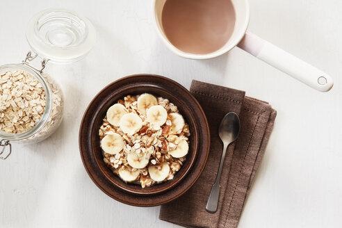Dish of banana oatflakes granola with cocoa - EVGF002871