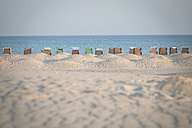 Germany, Warnemuende, beach with hooded beach chair - ASCF000534