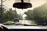 USA, Hawaii, Pupukea, pick-ups on Kamehameha Highway - BRF001289