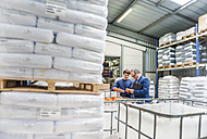 Manager and worker in storage of plastics factory checking products - DIGF000156