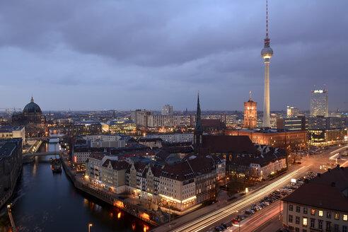 Germany, Berlin-Mitte, Alexanderplatz, Nikolaiviertel and Spittelmarkt, Berlin TV Tower and Leipziger Strasse in the evening - BFRF001770