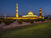 Oman, Muscat, Sultan Qaboos Grand Mosque in the evening - AMF004814