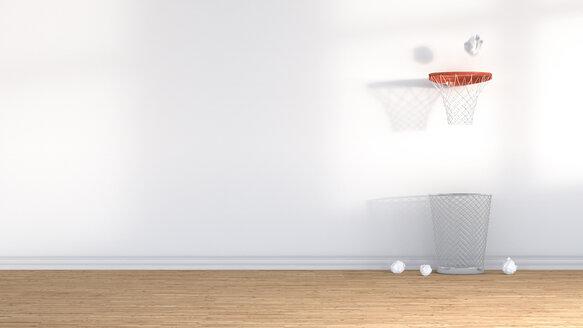3D Rendering, wastepaper basket under basketball hoop - AHUF000138