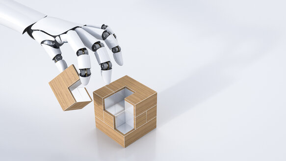 3D Rendering, robot hand assembling cube, copy space - AHUF000144
