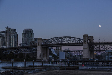 Canada, Vancouver, Bridges to Granville Island at night, moon - NGF000323