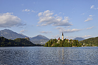 Slovenia, Gorenjska, Bled, Bled Island, Assumption of Mary's Pilgrimage Church and Lake Bled - RUEF001674