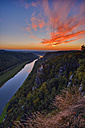 Germany, Saxony, Saxon Switzerland National Park, Elbe Sandstone Mountains, View from Bastei towards river Elbe at sunset - RUEF001692
