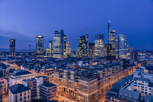 Germany, Hesse, Frankfurt, financial district in the evening - MPAF000049