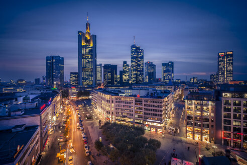 Germany, Hesse, Frankfurt, Downtown view with Hauptwache and financial district - MPAF000055