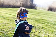 Portrait of little boy dressed up as superhero - VABF000395