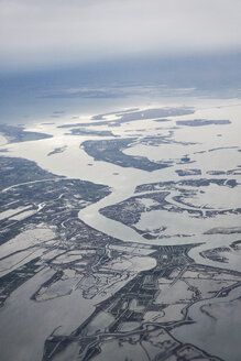 Italy, Venice, aerial view of lagoons - MAUF000384