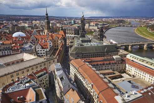 Germany, Dresden, Tower of Dresden Castle, Hausmann Tower and Cathedral, Elbe river - BSCF000519