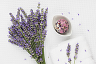 Wellness items, Lavender bouquet, Lavender-Rose-Petal-Soap ball in bowl, Lavender, white towel - GWF004658