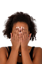 Young woman covering face with her hands - KLRF000286