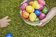 Easter basket with colourful eggs - RHF001425