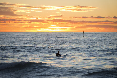 Surfer in the sea at sunrise - SKCF000083