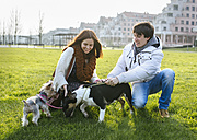 Young couple with their dogs on a meadow - MGOF001698