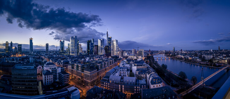 Germany, Frankfurt, River Main, skyline of finanial district in the evening - MPAF000057