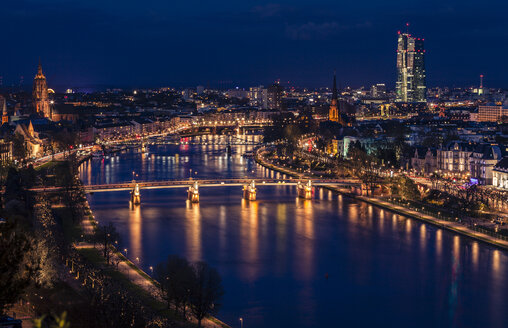 Germany, Frankfurt, Cityview and River Main at night - MPAF000060