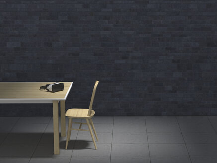 Table with VR glasses in darkened room, 3D-Rendering - UWF000841