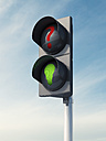 3D Rendering, idea, traffic light, green bulb, question sign - AHUF000148
