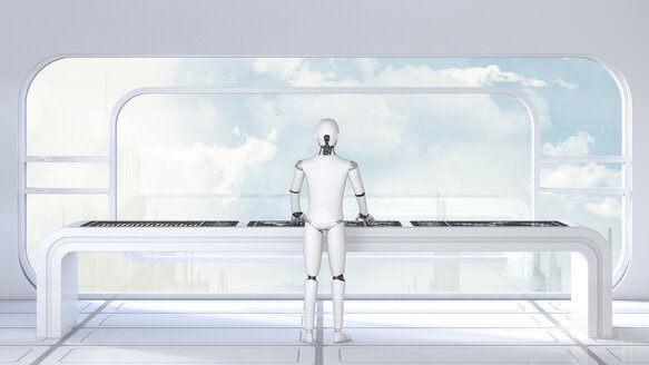 Roboter working in futuristic room, 3D Rendering - AHUF000154