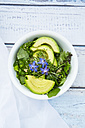 Detox Bowl of different lettuces, vegetables, cress, quinoa, avocado and starflowers - LVF004760