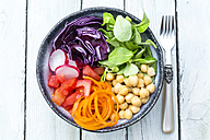 Rainbow salad in a bowl with chickpeas, tomatoes, carrots, red cabbage, red radishes, lettuce - SARF002696