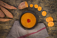 Bowl of sweet potato coconut soup - LVF004784