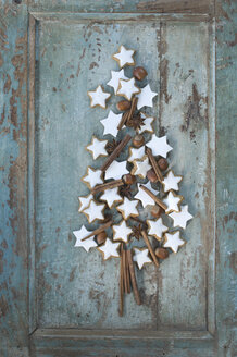 Christmas tree shaped of cinnamon stars, cinnamon sticks, star anise and hazelnuts - ASF005885