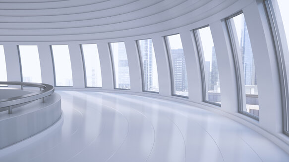 Empty hall in a high-rise building, 3D Rendering - UWF000850