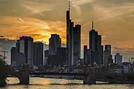 Germany, Hesse, Frankfurt, financial district at sunset, Tower 185, Commerzbank, HelaBa and old bridge - WGF000851