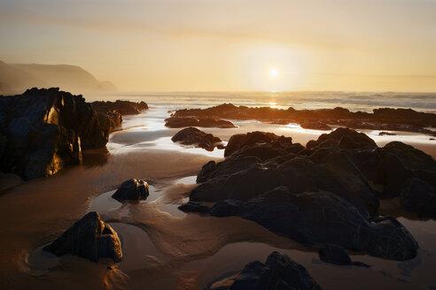 Portugal, Algarve, Bordeira, Atlantic Coast, beach at sunset - ASAF000014