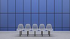 Row of seats at underground station platform, 3D Rendering - UWF000856