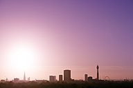 UK, London, skyline with St Paul's Cathedral, The Shard, BT Tower and London Eye in morning light - BRF001323