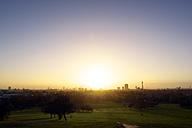 UK, London, skyline as seen from Primrose Hill in backlight - BRF001329