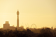 UK, London, skyline with BT Tower and London Eye in morning light - BRF001332
