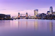 UK, London, skyline with River Thames and Tower Bridge at dusk - BRF001344