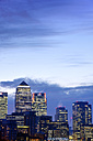 UK, London, skyline with Canary Wharf skyscrapers at dawn - BR001350