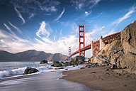 USA, California, Golden Gate Bridge in the evening - STCF000226