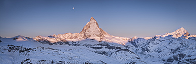 Switzerland, Zermatt, Pennine Alps, view to Matterhorn at sunrise, panorama - STCF000229