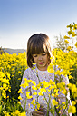 Portrait of little girl in rape field - LVF004802