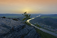 Germany, Saxony, Saxon Switzerland, Elbe Sandstone Mountains, Elbe River at sunset - FDF000153