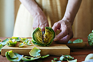Woman's hands cutting an artichoke, close-up - KIJF000354