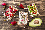 Three crispbreads with different toppings - SARF002707
