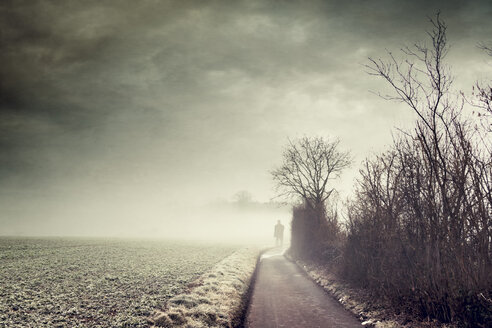 Gernany, North Rhine-Westphalia, Silhouette of a man standing on foggy country road - DWIF000726