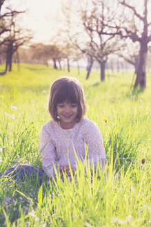 Portrait of smiling little girl sittiing on a meadow in spring - LVF004827